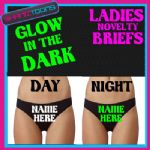 LADIES KNICKERS BRIEFS PERSONALISED HEN PARTY NIGHT GLOW IN THE DARK